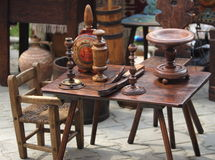 Old wood furniture items. Old antique wood furniture items such as table, chair, candlesticks and stool Stock Photography