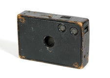 Old wood and glass camera. Isolated against a white background royalty free stock images