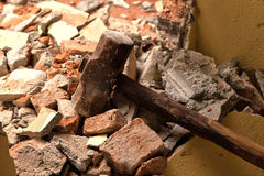 Old wood hammer Stock Images