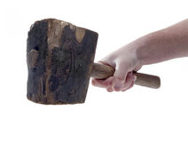 Old Wood Hammer Isolated Stock Photography