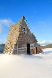 Old wood house. Et mountain in winter Stock Photo