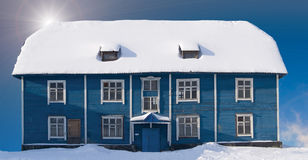 Old wood house. Winter. Old wood house in murmansk sity. Russia Stock Photo