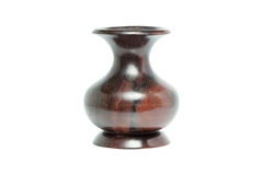 Old wood jar defect handmade  isolated on white background. Old wood jar defect handmade in thailand isolated on white background Royalty Free Stock Image