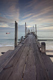 Old wood jetty Stock Images