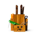 Old wood Knife block, isolated Royalty Free Stock Image