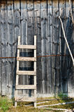 Old wood ladder leaning over a grey wooden wall. Stock Photo