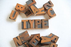 Old wood letters word type on white Royalty Free Stock Photos