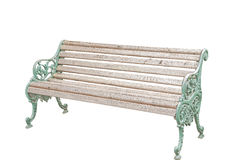 Old wood long arms chair isolated Royalty Free Stock Images
