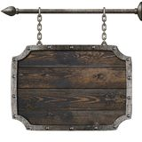 Old wood medieval sign with chains 3d illustration Stock Photo