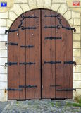 Old wood and metal iron closed door, Prague royalty free stock photo