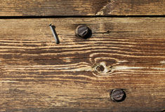 Old wood with nail and screws Stock Images