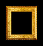 Old wood ornate frame isolated on black Stock Photography