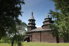 The Old wood ortodox church at The  Great (Veliky) Novgorod, Rus Stock Photos