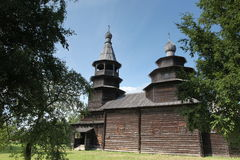 The Old wood ortodox church at The  Great Veliky Novgorod, Rus Stock Image