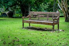 Wood bench on green grass Stock Image
