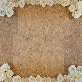 Old Wood Particle Board With White Paper Rose Flower Frame. Stock Photography
