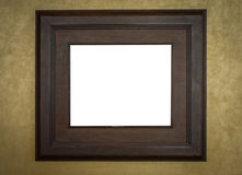 Old wood photo image frame on wall . Stock Photography