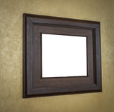 Old wood photo image frame on wall . Royalty Free Stock Images
