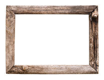 Old wood picture frame. Isolate on white royalty free stock photos