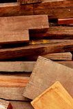 Old wood pieces. A shot of old pieces of wood scraps piled up together to be used as a reference photo Stock Photo