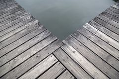 Old wood pier by the lake view royalty free stock photo