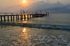 Old wood pier, sunset Royalty Free Stock Images