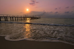 Old wood pier, sunset Stock Photography