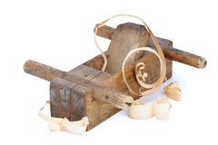 Old wood plane. Isolated white on background Royalty Free Stock Images