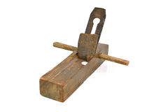 Old wood planer isolated on white background.  Royalty Free Stock Photography