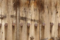 Old Wood Plank Panel With Forged Rusty Iron Nails Texture Royalty Free Stock Image