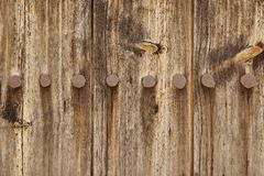 Old Wood Plank Panel With Forged Rusty Iron Nails Texture Royalty Free Stock Photography
