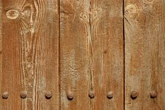 Old Wood Plank Panel With Forged Rusty Iron Nails Texture Stock Image