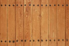 Old Wood Plank Panel With Forged Rusty Iron Nails Texture Stock Photos