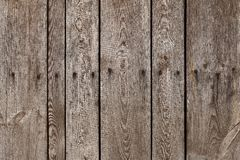 Old wood plank with steel sinker nails texture background. The texture of old wood. Vertical wooden planks. Wooden fence backdrop stock photography
