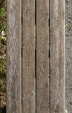 Old wood planks, wooden bench top view. Old wood planks, wooden outdoor bench top view Stock Photo