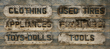 Old wood put advertising signs Stock Images