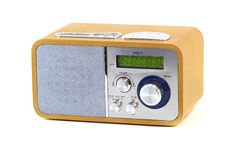 Old wood radio. In a white background Royalty Free Stock Images