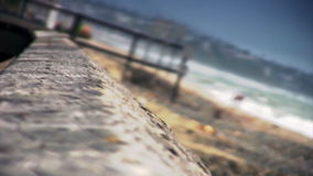 Old wood railing Close Up at beach stock footage