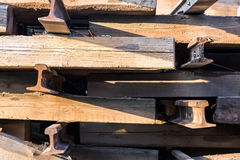 Old wood railway sleepers Stock Photo