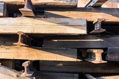 Old wood railway sleepers Stock Photo