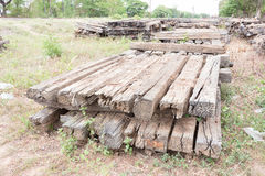 Old Wood Railway Sleepers Royalty Free Stock Photos