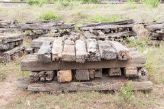 Old Wood Railway Sleepers Royalty Free Stock Image