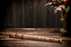 Old Wood Recorder Flute Ancient Musical Instrument royalty free stock image
