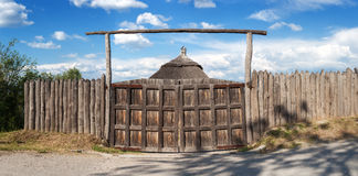 Old wood rustic church building and wooden fence against blue sk Royalty Free Stock Images
