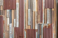 Old wood and rusty roofing sheet wall Royalty Free Stock Images