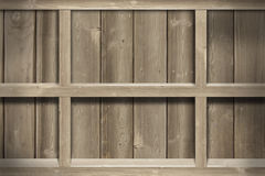 Old wood shelf. On wooden wall stock photo
