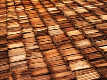 Old Wood Shingle Roof. With texture and brown color Royalty Free Stock Photography