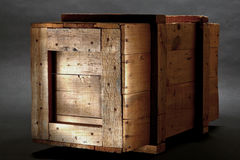Old Wood Shipping Crate in Dramatic Light Royalty Free Stock Photos