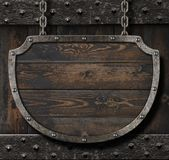 Medieval sign on wood background 3d illustration Royalty Free Stock Image