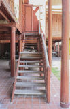 Old wood stair of house thai style Royalty Free Stock Photos